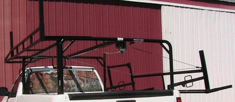 Custom-built fold down ladder rack