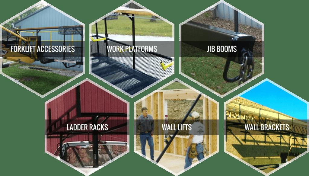 Services Offered: Forklift Accessories, Work Platforms, JIB Booms, Ladder Racks, Wall Lifts, Wall Brackets